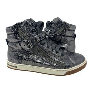 Michael Kors Glam Pyramid Studs High Top Lace Up Sneakers Pewter Silver Womens 9